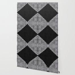 Diamond Stripe Geometric Block Print in Black and White Wallpaper