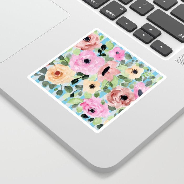 Watercolor Flowers Preppy Pastels Sticker