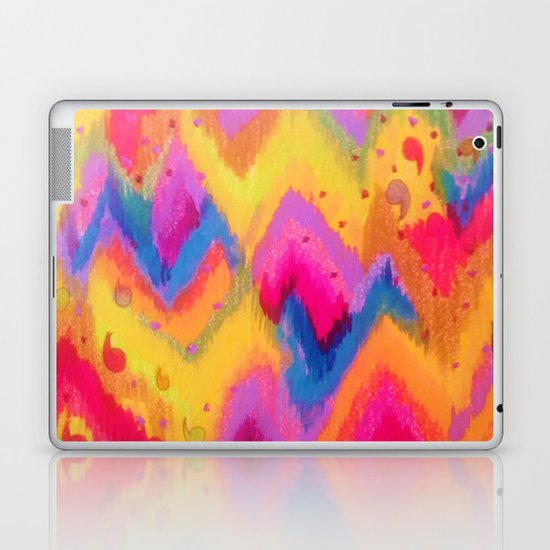 BOLD QUOTATION - Bright Vibrant Neon Quote Chevron Pattern Ikat Rainbow Trendy Design Fun Art Laptop & iPad Skin