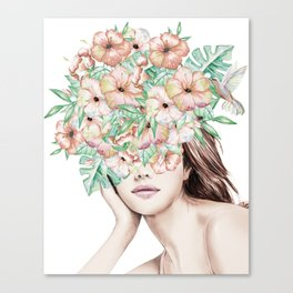 She Wore Flowers in Her Hair Island Dreams Canvas Print