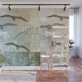 Free Like A Bird Seagull Mixed Media Art Wall Mural