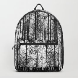 trees in forest landscape - black and white nature photography Backpack