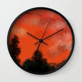 Coral sunrise Wall Clock