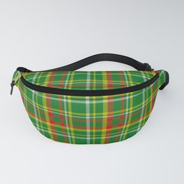 Green Red Yellow and White Plaid Fanny Pack