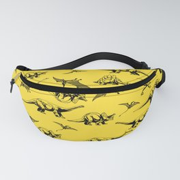 Dinosaurs on yellow background Fanny Pack
