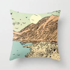 Mountain, Train & Lake Throw Pillow
