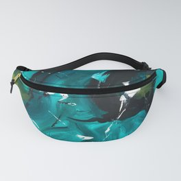 Turquoise and Green Abstract Fanny Pack