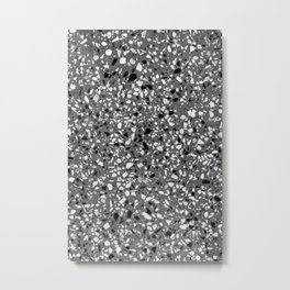 Dark Grey Monochrome Speckles Terrazzo Pattern Stone Effect Metal Print