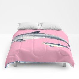 Bottlenose dolphin pink Comforters