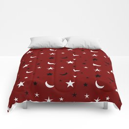 Red background with black and white moon and star pattern Comforters