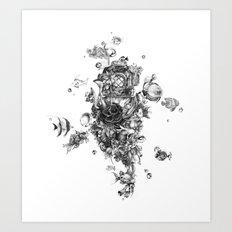 The Diver (Black and White Version) Art Print