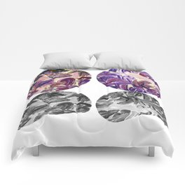 DRIP DRIP DRIP Purple Leaves Shadow Black and White Comforters