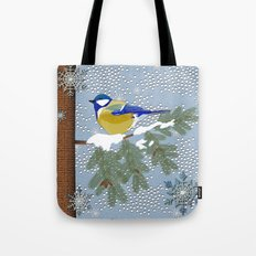 Blue bird in winter Tote Bag