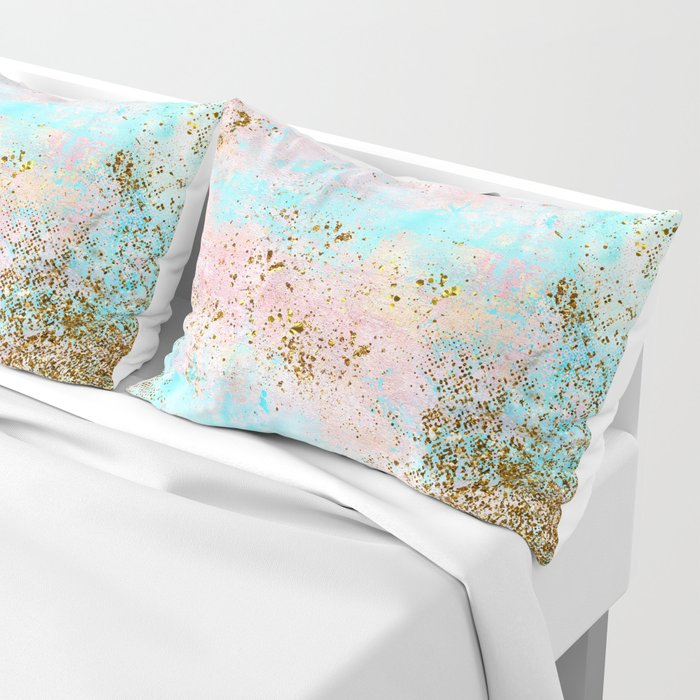 Pink and Gold Mermaid Sea Foam Glitter Pillow Sham