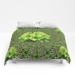 Lime Flowers & Green Irish Roses Optical Art Comforters