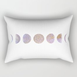Lavender and Gold Glitter Moon Cycle Rectangular Pillow