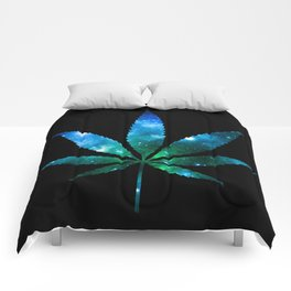 Weed : High Times Blue Green Galaxy Comforters