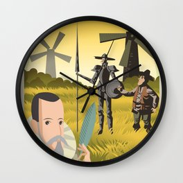 great spanish writer and old quixote knight with sidekick Wall Clock