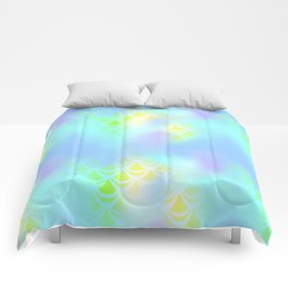 Blue Green and Yellow Mermaid Tail Abstraction. Magic Fish Scale Pattern Comforters