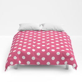 Small Polka Dots - White on Dark Pink Comforters