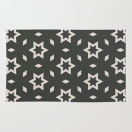 Black and white Stars Pattern Christmas Hollidays Rug