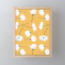 Poppies on mustard Framed Mini Art Print