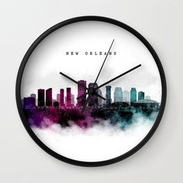 New Orleans Watercolor Skyline Wall Clock