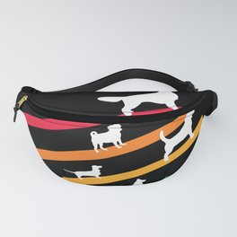 Cosmic Rainbow Dogs - Stripes and Silhouettes Fanny Pack
