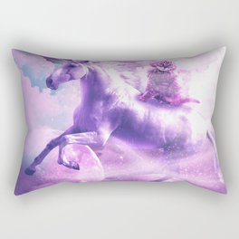 Kitty Cat Riding On Flying Space Galaxy Unicorn Rectangular Pillow
