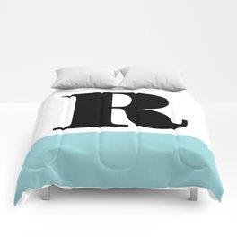 Monogram Letter R-Pantone-Limpet Shell Comforters