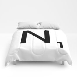 Letter N - Custom Scrabble Letter Tile Art - Scrabble N Initial Comforters