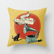 The Cat and the Cat Song (red) Throw Pillow