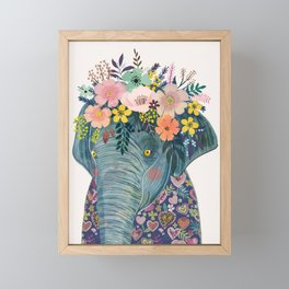 Elephant with flowers on head Framed Mini Art Print