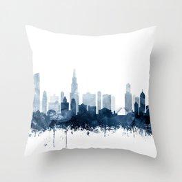 Chicago City Skyline Blue Watercolor by zouzounioart Throw Pillow