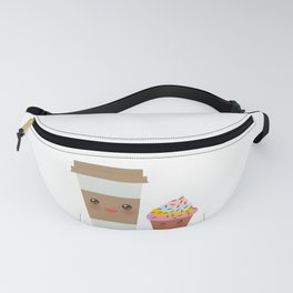 coffee in Paper thermo cup with brown cap and cup holder, chocolate cupcake. Kawaii Fanny Pack
