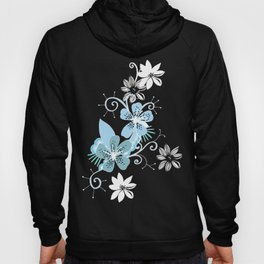 Summer blossom, brown and blue pattern Hoody