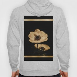 Anemone Flowers, Black with Golden Frame, Floral Nature Photography Hoody