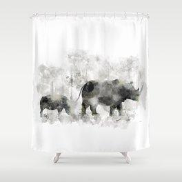 Rhino and Calf Shower Curtain