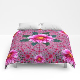 Purple Optical Art Floral Abstracted  Dahlias Pattern Comforters