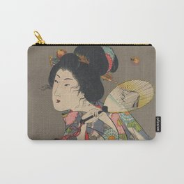 Japanese Art Print - Woman and Fireflies Carry-All Pouch