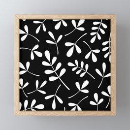 White on Black Assorted Leaf Silhouettes Framed Mini Art Print
