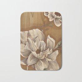 Magnolia on Wood Bath Mat