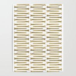 Golden Screws Pattern Poster Poster