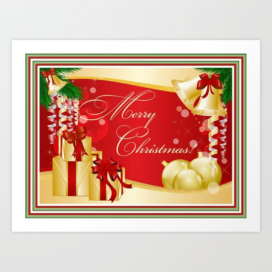 Merry Christmas Greeting With Gifts Bows And Ornaments Art Print