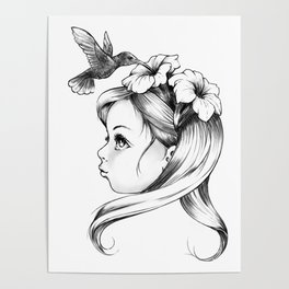 Petunia in a girl's hair, hummingbirds drink nectar of flowers, fairy tale nature Poster