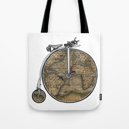 Penny Farthing Map Tote Bag