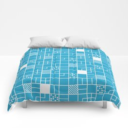 Inverted Boxes Blue Comforters