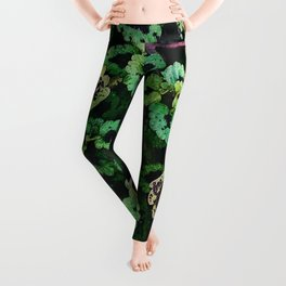 Green Leaf Flowers Leggings