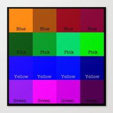 Blue, Pink, Yellow, Green  Canvas Print