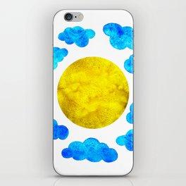 Cute blue cartoon clouds and sun. iPhone Skin